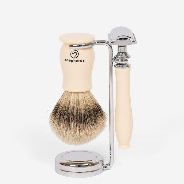Ivory Piccadilly Shaving Set - Double Edge Safety Razor